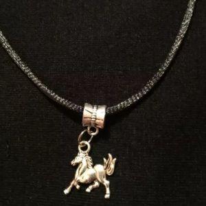 Silver tone Horse necklace